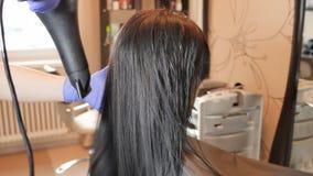 Secado del pelo El enderezarse de la queratina y restauración del pelo Consolidación y tratamiento con el botox almacen de video