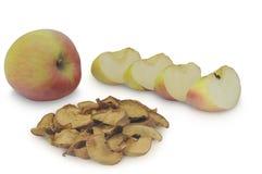 Secado maçãs cortadas e maduras na pilha isolada no fundo branco Imagem de Stock Royalty Free
