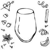 Secadora de roupa de vidro do cocktail das rochas Ilustração desenhada mão do vetor ilustração royalty free