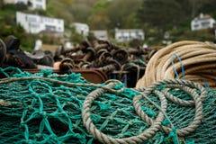 Secagem das redes de pesca Imagens de Stock Royalty Free