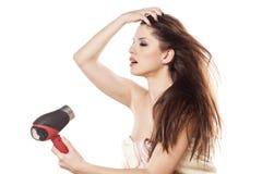 Secagem do cabelo Fotografia de Stock Royalty Free