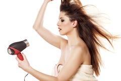 Secagem do cabelo Fotos de Stock
