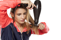 Secagem do cabelo foto de stock