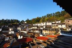 Secagem do outono na vila de HuangLing Foto de Stock Royalty Free