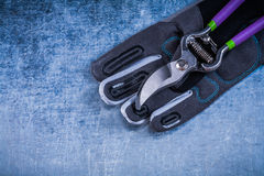 Secateurs tkaniny zbawcze rękawiczki na kruszcowym nawierzchniowym rolnictwa pojęciu Obrazy Stock