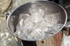 Secchio con i cubetti di ghiaccio Fotografia Stock Libera da Diritti