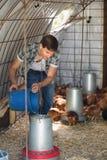 Secchio della tenuta dell'agricoltore con i grani del pollo Fotografia Stock
