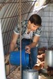 Secchio della tenuta dell'agricoltore del giovane con foraggio Fotografia Stock