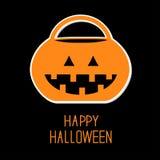 Secchio della zucca di scherzetto o dolcetto di Halloween Fotografie Stock Libere da Diritti