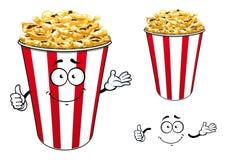Secchio di carta rosso a strisce del fumetto del popcorn Immagine Stock