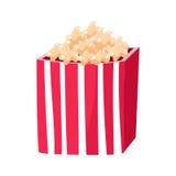 Secchio di carta a strisce con lo spuntino del popcorn, il cinema e l'illustrazione variopinta di vettore del fumetto relativo de illustrazione di stock
