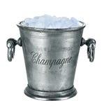 Secchio di Champagne, pieno con ghiaccio isolato su bianco Immagini Stock
