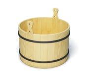 Secchio di legno su fondo bianco 3d rendono i cilindri di image Fotografia Stock Libera da Diritti