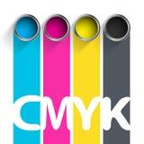 Secchio di pittura CMYK Combinazioni colori per l'industria di stampa Fotografia Stock