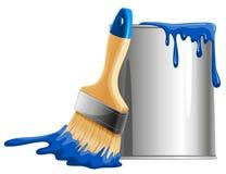 Secchio di pittura e della spazzola Fotografia Stock