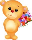 Secchio sveglio del fiore della tenuta del fumetto dell'orso Immagine Stock Libera da Diritti