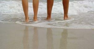 Sección baja de los pares que se colocan descalzo en la playa 4k almacen de video