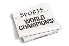 Sección de deportes de los títulos de periódico Fotografía de archivo libre de regalías