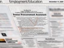sección del empleo de los trabajos en periódico, Imagen de archivo libre de regalías
