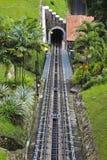 Sección del ferrocarril funicular en la colina de Penang en Malasia foto de archivo libre de regalías