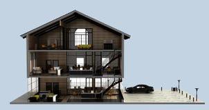 Sección e interior un edificio de oficinas stock de ilustración