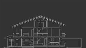 Sección estándar de la fachada de la casa Foto de archivo