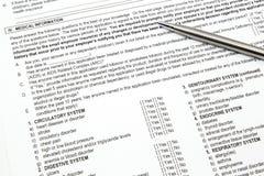 Sección médica de la aplicación del seguro médico Fotografía de archivo
