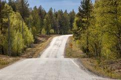 Sección reservada de la carretera en el norte lejano del ` s de Finlandia imágenes de archivo libres de regalías