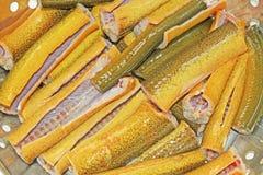 Sección sin aletas de la anguila lista para cocinar Foto de archivo