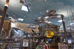 Sección de la pesca de Bass Pro Shop en el hotel de Silverton en Las Vega Imágenes de archivo libres de regalías