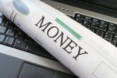 Sección del dinero del periódico Foto de archivo libre de regalías
