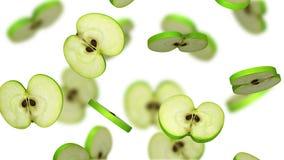 Secciones de la manzana verde que caen en el fondo blanco, ejemplo 3d Imagen de archivo