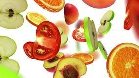 Secciones de las frutas que caen en el fondo blanco, ejemplo 3d Fotos de archivo libres de regalías