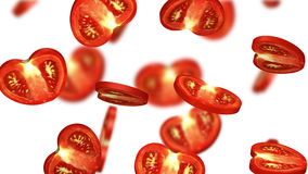 Secciones del tomate que caen en el fondo blanco, ejemplo 3d Foto de archivo libre de regalías