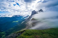 Seceda mountain in the Dolomites, South Tyrol, Italy, Europe. Seceda mountain in the Dolomites, South Tyrol, Italy stock photography