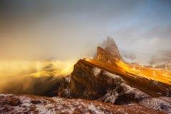 Seceda-Sonnenuntergang, Italien Lizenzfreies Stockbild