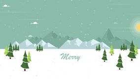 secenery雪的动画在小山的 向量例证