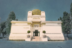 The Secession Building. Wiener Secessionsgebaude - exhibition hall built in 1897. Vienna, Austria. Modern painting style texture. Travel illustration Royalty Free Stock Photos