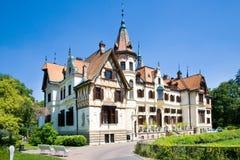 Secession Lesna castle, Czech republic. LESNA CASTLE, CZECH REPUBLIC - AUG 12, 2014 - art nouveau chateaux Lesna, Zlin region, Moravia, Czech republic. Part of Royalty Free Stock Photos