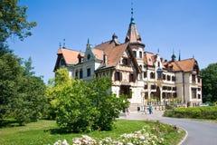 Secession Lesna castle, Czech republic. LESNA CASTLE, CZECH REPUBLIC - AUG 12, 2014 - art nouveau chateaux Lesna, Zlin region, Moravia, Czech republic. Part of royalty free stock photo