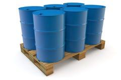 Sechs Ölbarrel auf Ladeplatte Lizenzfreie Stockfotos