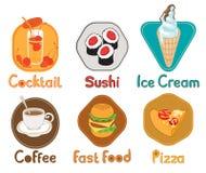 Sechs Abbildungen Nahrung Stockfotografie