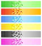Sechs abstrakte Fahnen mit Pixeln Stockbilder