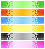 Sechs abstrakte Fahnen mit Pixeln Stockbild