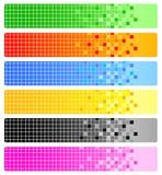 Sechs abstrakte Fahnen mit Pixeln Stockfotos