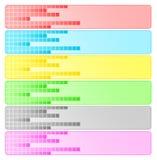 Sechs abstrakte Fahnen mit Pixeln Lizenzfreie Stockfotos