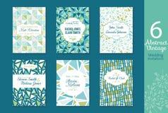 Sechs abstrakte Weinlese-Hochzeits-Einladungen, speichern den Datumskartensatz mit Braut und Bräutigamnamen, simsen, wiederholen  Stockfotos