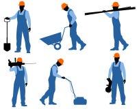 Sechs Arbeitskraftschattenbilder Stockfoto