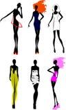 Sechs Art- und Weisemädchen-Schattenbild. Stockbild