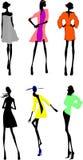 Sechs Art- und Weisemädchen-Schattenbild. Stockfotografie